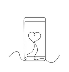 Continuous one line smartphone with love heart on vector