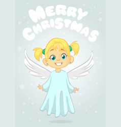 Cute happy cartoon girl angel vector
