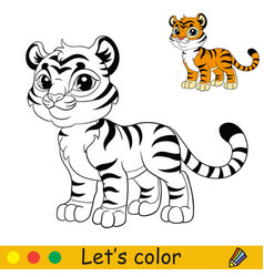 cute standing tiger coloring with colorful vector image