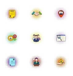 Development icons set pop-art style vector