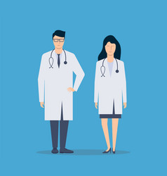 doctor man and woman nurse stand in full growth vector image