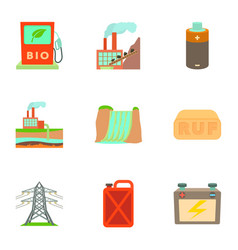Eco energy icons set cartoon style vector