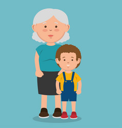 Elder and kid icon vector