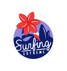 extreme surfing logo surf retro badge vector image