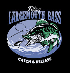 fishing largemouth bass t-shirt design vector image