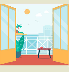 Flat balcony interior with summer city and island vector