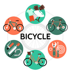 Flat bicycle round concept vector