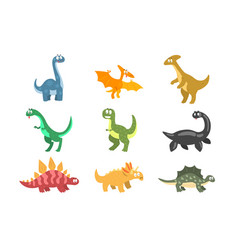 flat set cartoon dinosaurs funny vector image