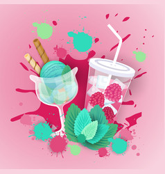 fresh ice cream with cocktail logo sweet beautiful vector image
