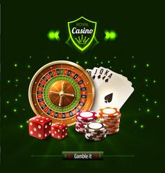 gamble it casino realistic composition vector image