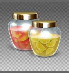Glass jars jam vector