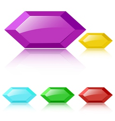 Glossy faceted gemstones vector