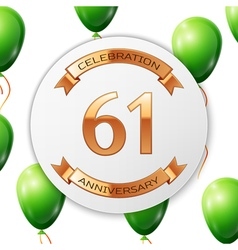 Golden number sixty one years anniversary vector image