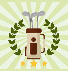 golf club bag laurel wreath emblem vector image