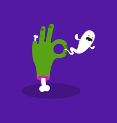 halloween concept zombie hand holding a ghost vector image