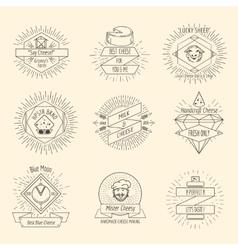 Handmade cheese logo or hipster craft cheesemaking vector
