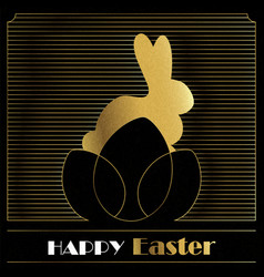 happy easter gold art deco card of bunny and eggs vector image