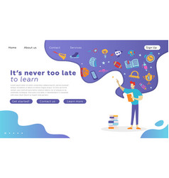 happy student character with book landing page vector image