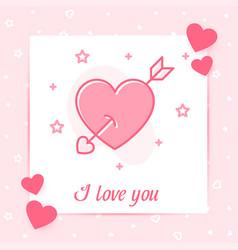 heart arrow valentine card i love you text icon vector image
