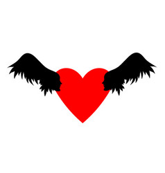 Heart with two angels a with wings vector