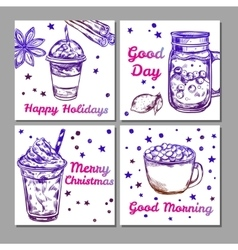 Hot Drinks Icon Set vector image
