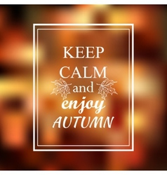 Keep calm and enjoy autumn phrase on orange blur vector image