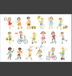 Kids playing outside set vector