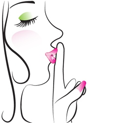 Lady making silence sign vector image