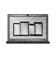 laptop computer with smartphones on screen icon vector image
