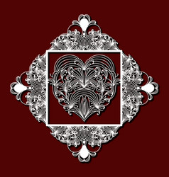 laser cutting decorative floral diamond with heart vector image