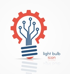 light bulb idea icon with circuit board vector image
