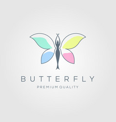 Line art beauty flying woman colorful butterfly vector