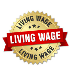 Living wage round isolated gold badge vector