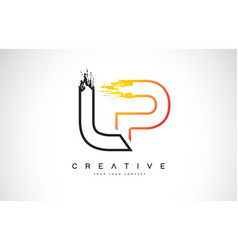 Lp creative modern logo design with orange and vector