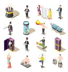 Magic show isometric icons vector