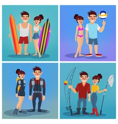 Man and Woman with Surf Active People Beach Sports vector