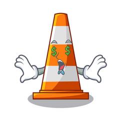 money eye on traffic cone against mascot argaet vector image