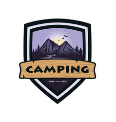 mountain adventure camping climbing logo template vector image