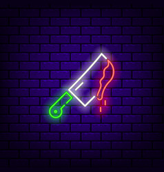 Neon knife icon with blood on a dark brick vector