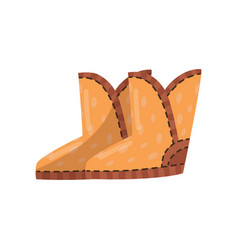 pair of cute brown ugg boots warm shoes for cold vector image