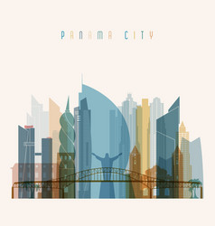 Panama city skyline detailed silhouette vector