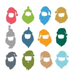 Portrait Santa Claus coloreful face icons vector image