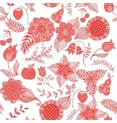 red floral doodle seamless pattern vector image