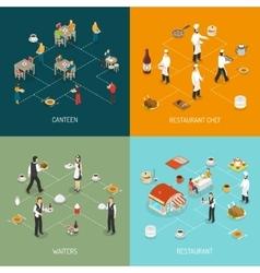 Restaurant Concept 4 Isometric Icons Square vector
