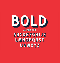 retro bold font and alphabet rounded letters vector image