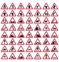 Road traffic warning signs vector image