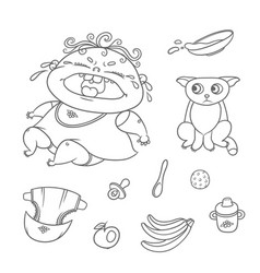 set crying child and scared kitten chubby vector image