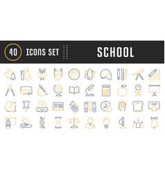 set flat line icons school vector image