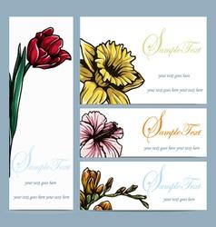 set four floral invitation card vector image