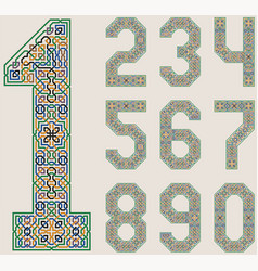 Set numbers in in palace alhambra style vector